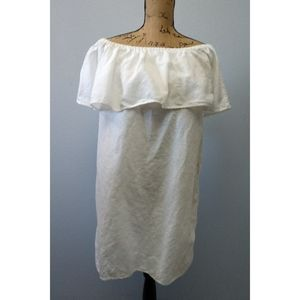 J. Crew White Tiered Linen Off Shoulder Tunic Top